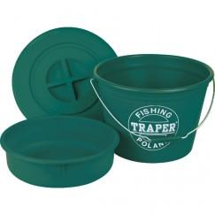 Ведро для прикормки Traper 25л c тазом и крышкой (зеленый, красный)